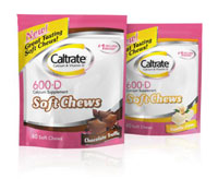CALTRATE SOFT CHEWS (calcium carbonate and Vit. D3) 600mg/400IU chews by Wyeth Consumer Healthcare