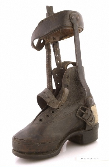 Leather and steel leg caliper designed for a Victorian child.