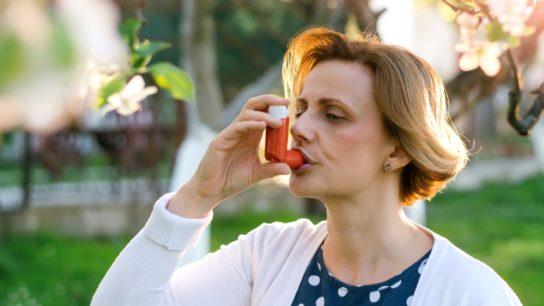 Allergic Asthma Inhaler Outdoors