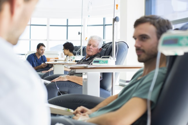 Multiple patients having chemotherapy in a room